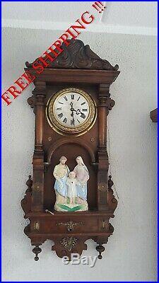 0325 Unique antique religious clock with music box