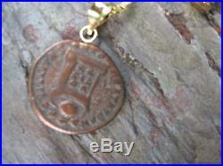 14KT Yellow Gold & Ancient Antique Roman Constantine Coin Pendant Charm