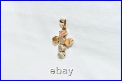 14k yellow gold antique cabochon 2.40 TCW Ethiopian Fire Opal cross pendant