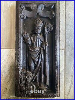 16th Century Carved Oak Gothic Religious Cardinal Putti Panel
