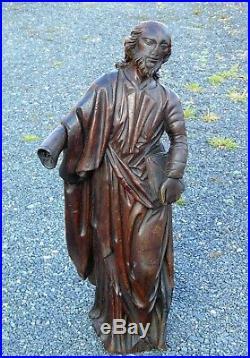 17th Century Carved Oak Religious Figure Folk Art