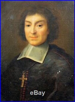17th Century Ditch School Old Master Clergyman Portrait Antique Oil Painting