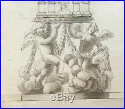 17th. Century Old Master Drawing 1600s Religious Monstrance Angels Italian