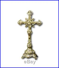 18 High French Antique Religious Bronze Standing Crucifix Altar Cross
