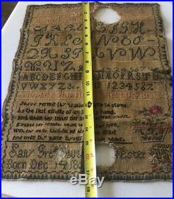 1803 Antique Sampler by Sally Religious Jesus Flower Pot Darling Antique Textile