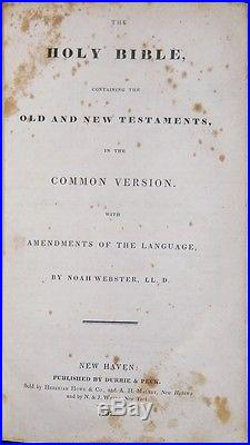 1833 RARE NOAH WEBSTER HOLY BIBLE 1ST-ED! Antique Christian Religious Dictionary