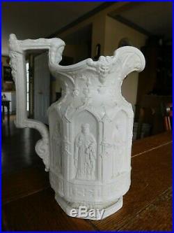 1842 Antique Charles Meigh Pitcher Apostle English Salt Glaze Religious Jug Ewer