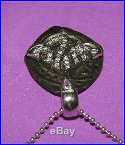 18ct WHITE GOLD ANTIQUE BRONZE COIN & DIAMOND ALLAH PENDANT ON CHAIN 43cm