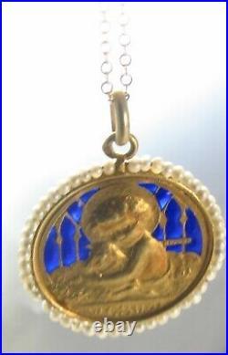 18k Gold French Plique A Jour Enamel Pearl Edmond Henri Becker Religious Pendant