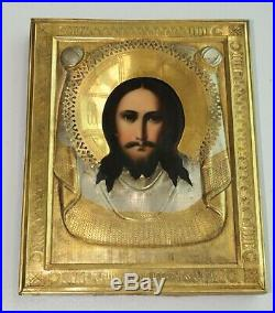 1900y RUSSIAN IMPERIAL ORTHODOX RELIGIOUS ICON JESUS MANDYLION EGG TEMPURA PAINT