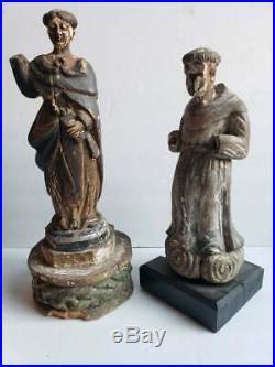 19th C. Spanish Colonial Carved Catholic Church Religious Santos Altar Figures