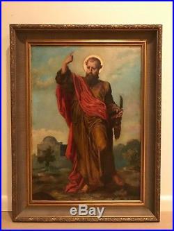 19th Century Portrait Saint Catholic Religious Christian Antique Oil Painting F