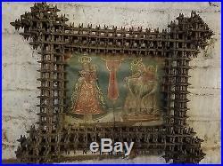 19th Century Retablo in Crown of Thorns Frame Ethnographic Religious Relic
