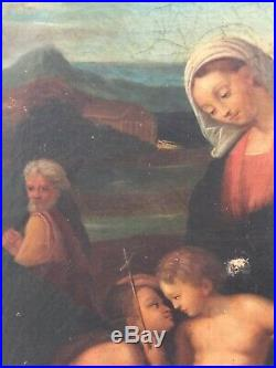 19th century Antique Oil painting Portrait Madonna Follower of Raffaello SANZIO