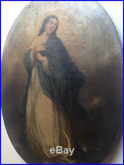 19th century Antique oil painting Portrait Virgin Crescent Moon French school
