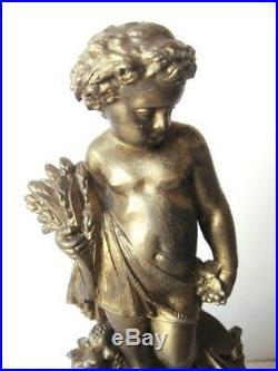 19thC Antique Victorian French Sculpture Statue Spelter Gold Putti Cherub c. 1880