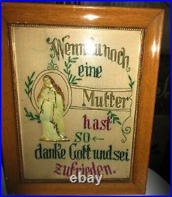 2 ANTIQUE VICTORIAN Sampler Bavarian GERMAN PUNCH PAPER NEEDLEWORK RELIGIOUS