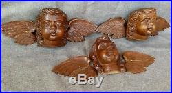 3 antique italian renaissance angels sculptures lot 19th century oak religious
