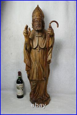 37.4 XL church antique wood carved religious statue bishop saint Nicholas