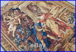 4.3'X4.7' Religious Antique Aubusson Tapestry Flat Weave Cherubs God Father Wool