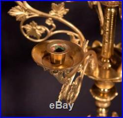 43 Antique Gilt Bronze Church Candlesticks/Candelabra with Angels Religious