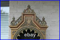 55 Antique neo gothic church wood carved polychrome wall chapel saint religious