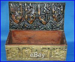 A rare antique Victorian brass gothic, medieval, church, religious casket