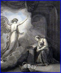 ANNUNCIATION 1794 Francesco Bartolozzi William Hamilton ANTIQUE ETCHING