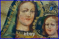 ANTIQUE 17c SPANISH COLONIAL CUZCO SCHOOL MADONNA AND CHILD OIL PAINTING