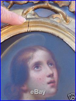 ANTIQUE 19thC EGISTO MANZUOLI ITALIAN RELIGIOUS OIL PAINTING FLORENTINE FRAME PR