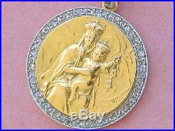 ANTIQUE. 35ctw DIAMOND OUR LADY MT CARMEL VIRGIN MARY 18K RELIGIOUS PENDANT 1910