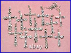 ANTIQUE ART DECO. 08ctw DIAMOND SAPPHIRE PLATINUM RELIGIOUS CROSS PENDANT 1930