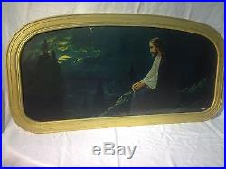 ANTIQUE ART DECO LARGE FRAME 30s Jesus praying MOUNT of OLIVES by GIOVANNI