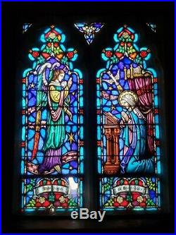 ANTIQUE CHURCH RELIGIOUS STAINED GLASS WINDOW ANNUNCIATION OF MARY with ST GABRIEL