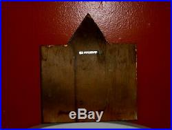 ANTIQUE Ceramic Wood Triptych Religious Artwork Guardian Angel Praying for Child