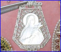 ANTIQUE DECO. 18ctw DIAMOND PEARL ST TERESE RELIGIOUS PENDANT NECKLACE 1920
