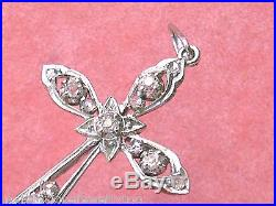 ANTIQUE EDWARDIAN. 50ctw DIAMOND PLATINUM RELIGIOUS 1.5 CROSS PENDANT 1910