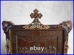 ANTIQUE FRENCH ENAMELED BRONZE RELIGIOUS FRAME, LATE 19th CENTURY