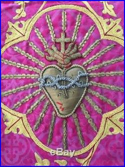 ANTIQUE FRENCH GOLD METALLIC RELIGIOUS HAND EMBROIDERY SACRED HEART OF JESUS No7