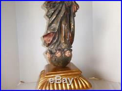 ANTIQUE HAND CARVED WOOD OUR LADY OF IMMACULATE CONCEPTION RELIGIOUS STATUE 28t