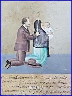 ANTIQUE MEXICAN EX-VOTO RETABLO Tin Painting FOLK ART Mary of San Juan Lagos