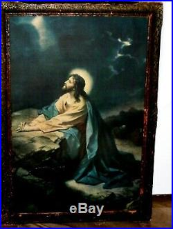 ANTIQUE ORIGINAL PRINT Morris & Bendien NY Jesus in Garden Gethsemane Moon light