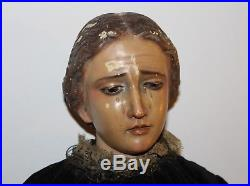 ANTIQUE RELIGIOUS SCULPTURE Our Lady of Sorrows WOOD CARVED 19TH CENTURY