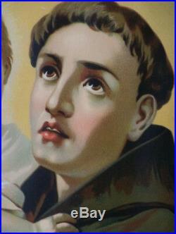 ANTIQUE Saint Anthony of Padua LITHOGRAPH Gold Gilt frame LARGE Portrait Art
