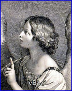 ARCHANGEL GABRIEL c. 1765 Robert Strange Guido Reni ANTIQUE ETCHING