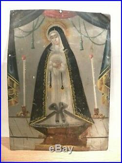 An Antique Retablo Painting La Senora De Soledad Mexican Spanish Colonial Art