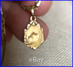 Antique 14 K Yellow Gold Chain 19 Necklace Virgin Mary Jesus Medallion 6.5 G
