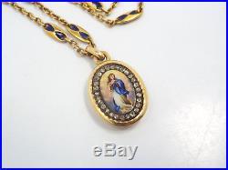 Antique 14K Gold Enamel Diamond Religious Mary Painted Portrait Pendant 1904