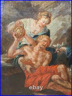 Antique 17th Century Oil Painting Lot w Daughters Italian Religious Old Master