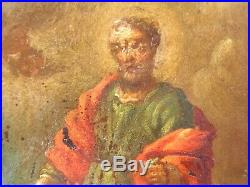 Antique 17th century old master oil painting on copper Rich Man & Lazarus signed